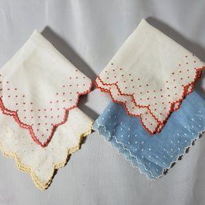 Accessories - Vintage Antique Handkerchiefs 30s Embroidered 4